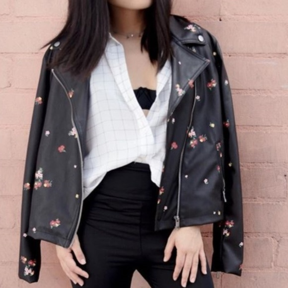 Who What Wear Jackets & Blazers - Floral Printed Moto Jacket